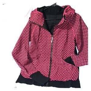 Pink and black zippered hoodie lululemon